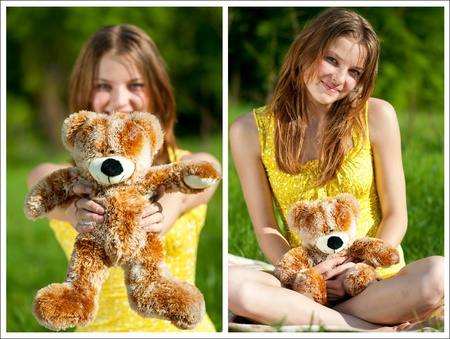 Beautiful young woman play with lovely toy bear photo