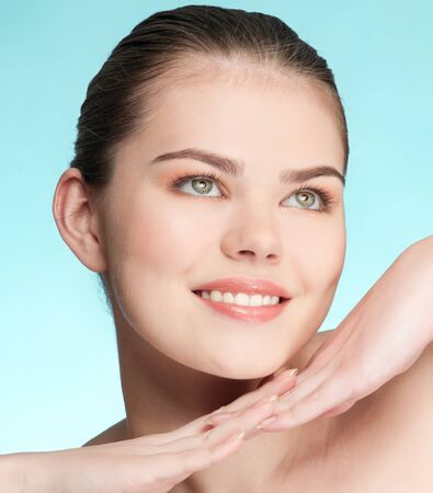 Close-up portrait of young adult woman with perfect health skin of face Stock Photo - 9805984