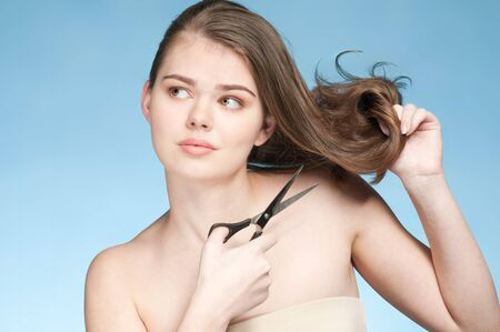Close up portrait of young emotional woman that cut perfect hair end Stock Photo - 9801141