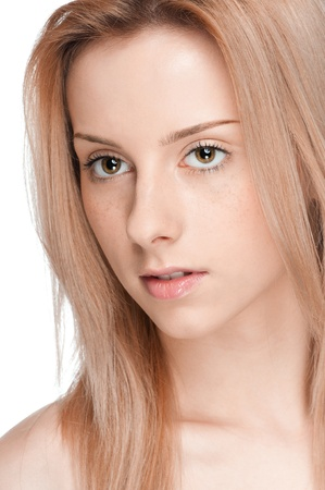 Closeup portrait of young beautiful woman with perfect skin Stock Photo - 9839352