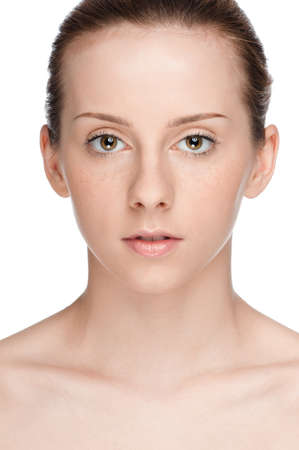 Closeup portrait of young beautiful woman with perfect skin Stock Photo - 9839297