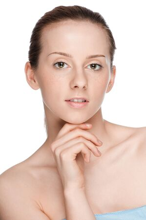 Closeup portrait of young beautiful woman with perfect skin Stock Photo - 9839247