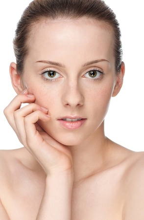 Closeup portrait of young beautiful woman with perfect skin Stock Photo - 9839214