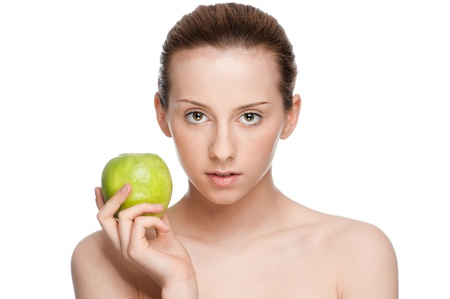 Young woman eat green apple Stock Photo - 9839030