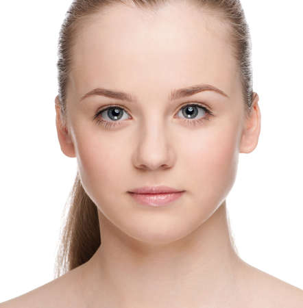 Closeup portrait of young beautiful woman with perfect skin Stock Photo - 9839020