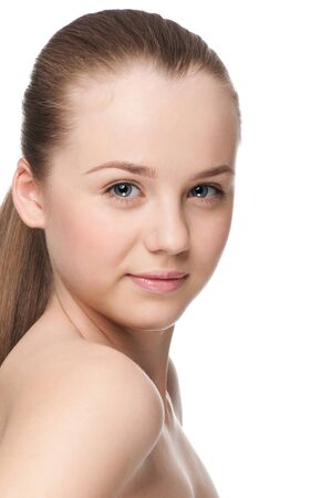 Closeup portrait of young beautiful woman with perfect skin Stock Photo - 9839264