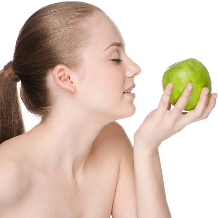 Young woman eat green apple Stock Photo - 9839022