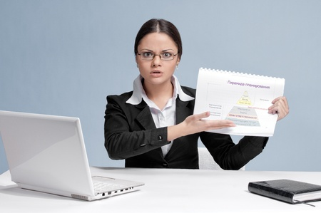 Emotional business woman in office palce show color chart. Serious! photo