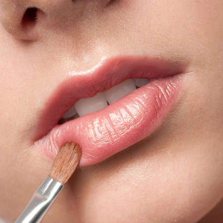 Close-up face of beauty young woman - lips make-up zone Stock Photo - 9999942