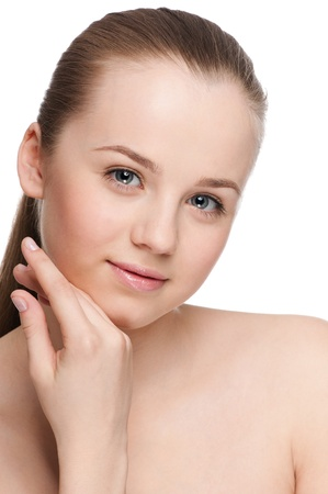 Closeup portrait of young beautiful woman with perfect skin Stock Photo - 10055687