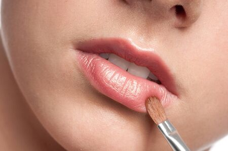 Close-up face of beauty young woman - lips make-up zone Stock Photo - 10518078