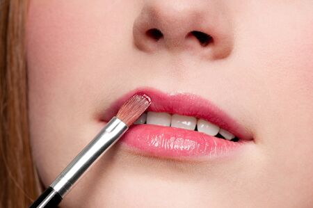 Close-up face of beauty young woman - lips make-up zone Stock Photo - 10524885
