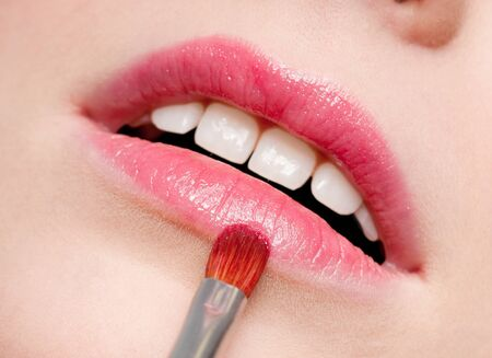 Close-up face of beauty young woman - lips make-up zone Stock Photo - 10540247