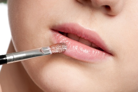 Close-up face of beauty young woman - lips make-up zone Stock Photo - 10583031