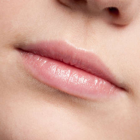 Close-up face of beauty young woman - lips make-up zone Stock Photo - 10583011