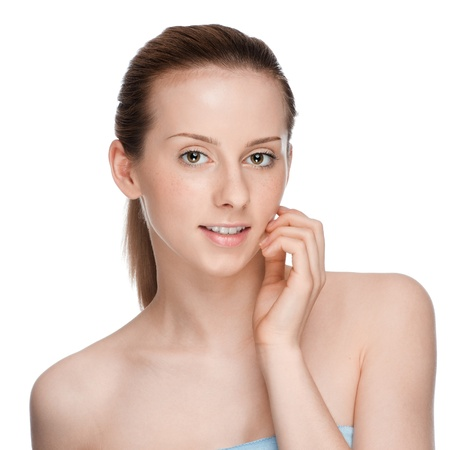 Closeup portrait of young beautiful woman with perfect skin Stock Photo - 10642862