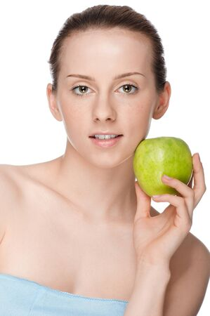Young woman eat green apple Stock Photo - 10642863
