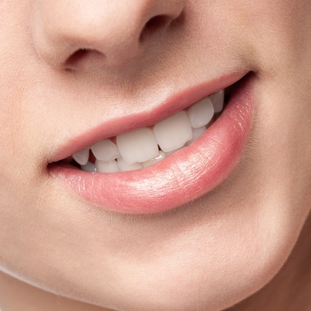 Close-up face of beauty young woman - lips make-up zone Stock Photo - 10953463
