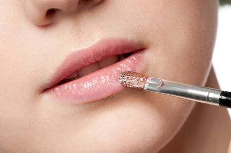 Close-up face of beauty young woman - lips make-up zone Stock Photo - 10953473