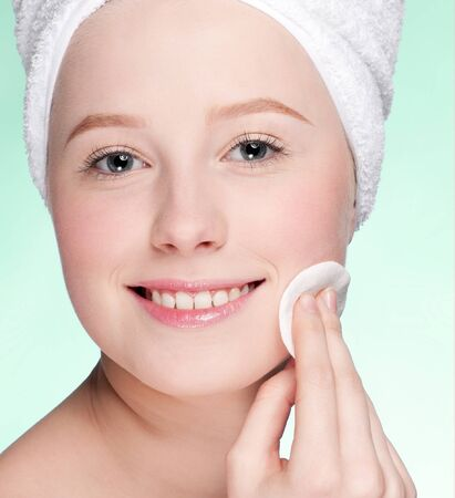 Close-up face of beauty young woman applying sponge Stock Photo - 11062273