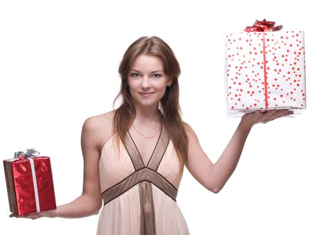 Beautiful woman with clear makeup and two gifts box Stock Photo - 11177793