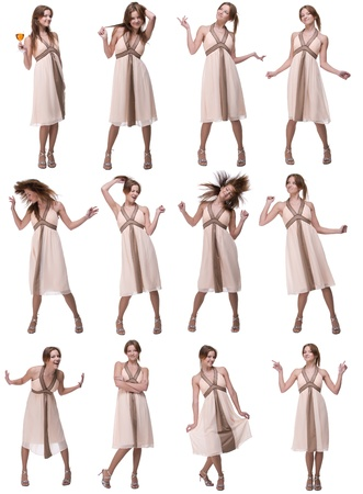 Collage of beautiful emotional dancing woman isolated on white photo