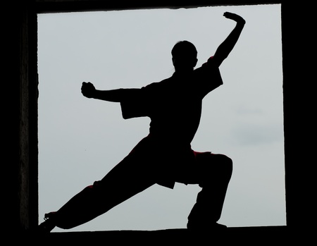 aikado: Shaolin warriors wushoo man silhouette practice martial art outdoor. Kung fu