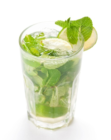 caipirinha: Mojito cocktail isolated on white