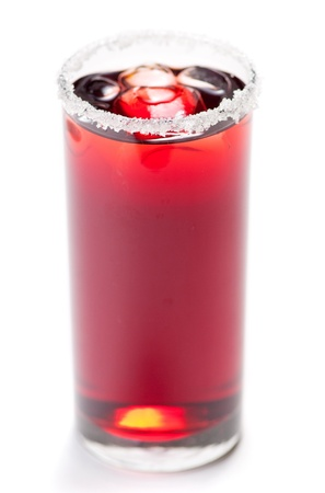 Red cocktail with sugar and ice isolated on white  photo