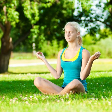 Beautiful young woman doing stretching exercise on green grass at park. Yoga Stock Photo - 12129980