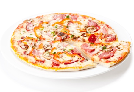 Tasty Italian Pepperoni pizza. Isolated on white Stock Photo - 12584709