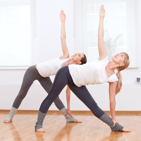 Group of sport women in the gym centre doing stretching fitness exercise. Yoga Stock Photo - 12535348