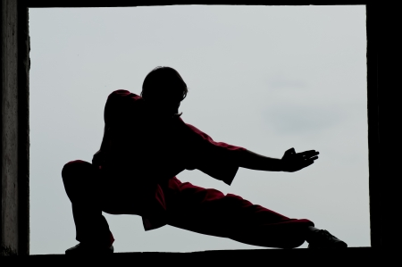 patada: Shaolin guerreros hombre wushoo silueta de la pr�ctica de artes marciales al aire libre. Kung fu
