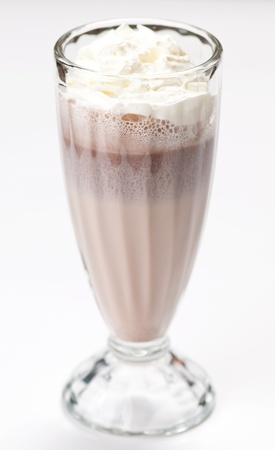iced blended chocolate milk cocktail. On white photo