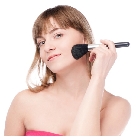 Close-up portrait of young beautiful woman with brush for make-up. Cheek zone Stock Photo - 12872342