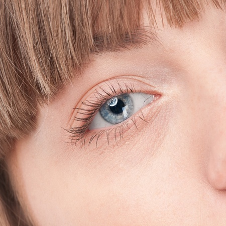 Close-up portrait of woman eye with perfect health skin of face. Isolated on white Stock Photo - 12872134