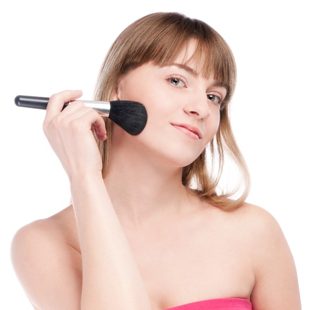 Close-up portrait of young beautiful woman with brush for make-up. Cheek zone Stock Photo - 13321268