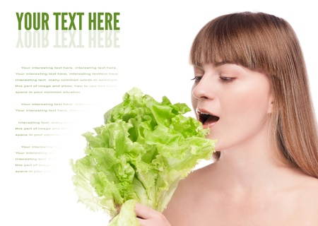 Young beauty woman with green lettuce isolated on white  photo