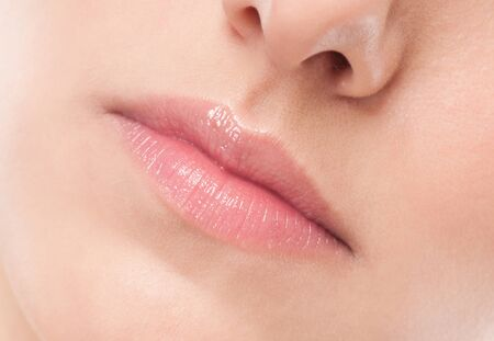 Close-up face of beauty young woman - lips make-up zone Stock Photo - 13947276