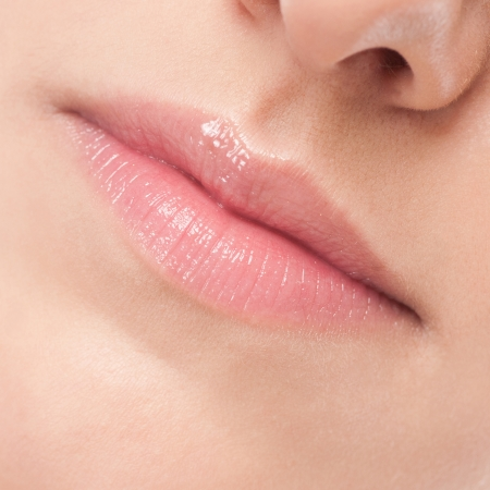 Close-up face of beauty young woman - lips make-up zone Stock Photo - 13947193