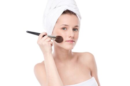 Close-up portrait of young beautiful woman with brush for make-up. Cheek zone Stock Photo - 13947008