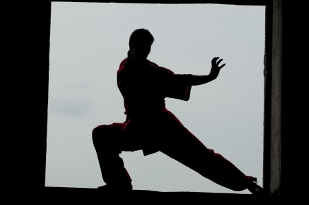Shaolin warriors wushoo man silhouette practice martial art outdoor. Kung fu photo