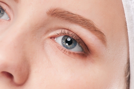 Close-up portrait of woman eye with perfect health skin of face. Isolated on white Stock Photo - 15262770