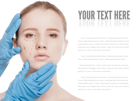 Beautician touch and draw correction lines on woman face. Before plastic surgery operetion. Isolated on white Stock Photo - 15262760