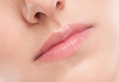 Close-up face of beauty young woman - lips make-up zone Stock Photo - 15620064
