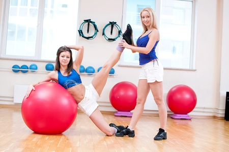 Two smiling women do stretching exercise in sports club. Fitness gym Stock Photo - 15635144