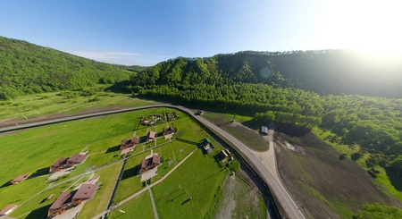 Beautiful small green village from above  aerial view Stock Photo - 15752445