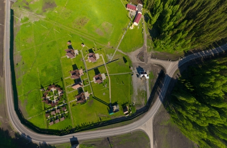 Beautiful small green village from above  aerial view  photo