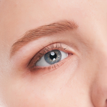 Close-up portrait of woman eye with perfect health skin of face. Isolated on white Stock Photo - 16405164