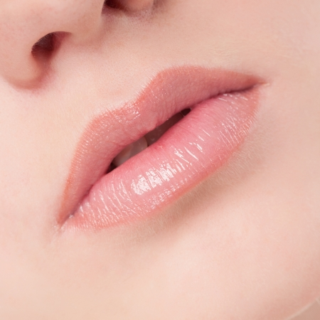 Close-up face of beauty young woman - lips make-up zone Stock Photo - 16405161